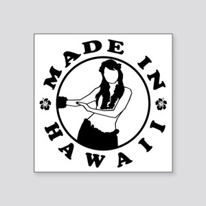 "made in hawaii black Square Sticker 3"" x 3"""