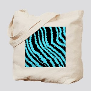 Blue and Black Zebra Print Pattern. Tote Bag