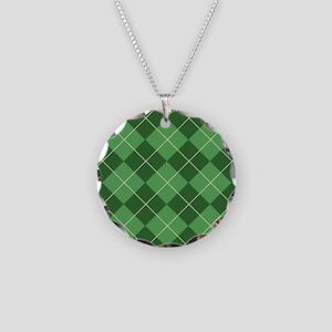 Green Argyle Flip Flops Necklace Circle Charm