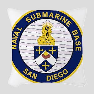 NAVAL SUBMARINE BASE San Diego Woven Throw Pillow