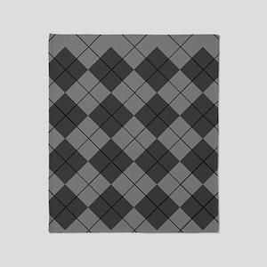Black Gray Argyle Flip Flops Throw Blanket