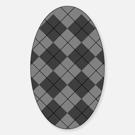 Black Gray Argyle Flip Flops Sticker (Oval)