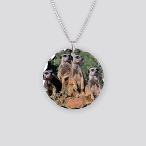 MEERKAT FAMILY PORTRAIT stad Necklace Circle Charm