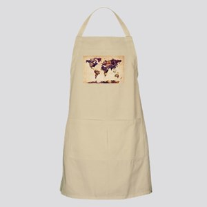 Watercolor World Map Light Apron