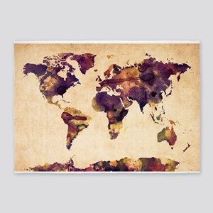 Watercolor World Map 5'x7'Area Rug