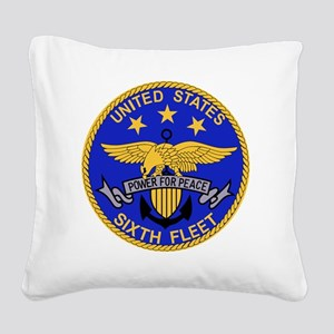 SIXTH FLEET US Navy Military  Square Canvas Pillow