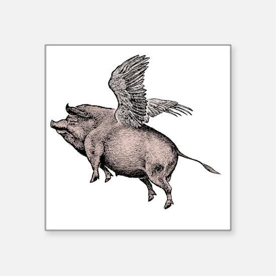 "Flying Pig Square Sticker 3"" x 3"""