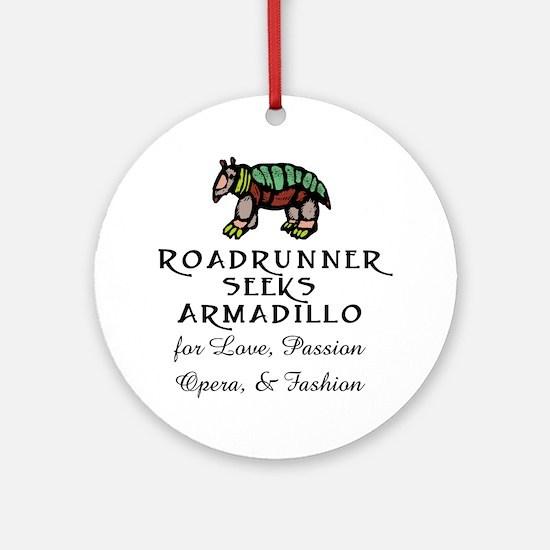 Roadrunner Seeks Armadillo Ornament (Round)