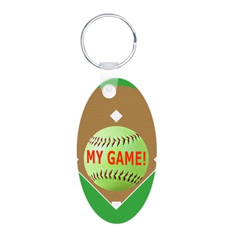 Softball iPhone 4 Slider Ca Aluminum Oval Keychain