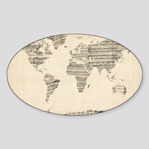 Map of the World Map from Old Sheet Music Sticker