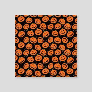 "Halloween Pumpkin Flip Flop Square Sticker 3"" x 3"""