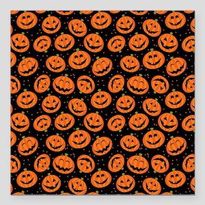 "Halloween Pumpkin Flip F Square Car Magnet 3"" x 3"""