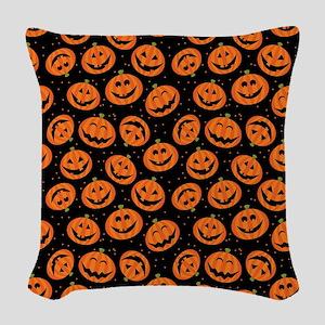 Halloween Pumpkin Flip Flops Woven Throw Pillow