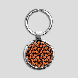 Halloween Pumpkin Flip Flops Round Keychain