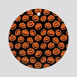 Halloween Pumpkin Flip Flops Round Ornament
