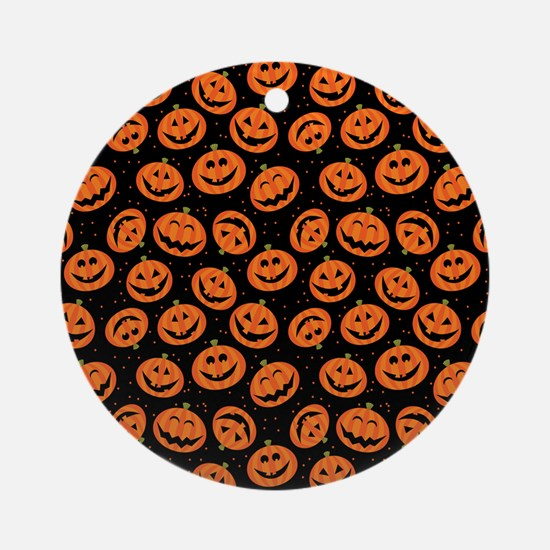 Halloween Pumpkin Flip Flops Round Ornament