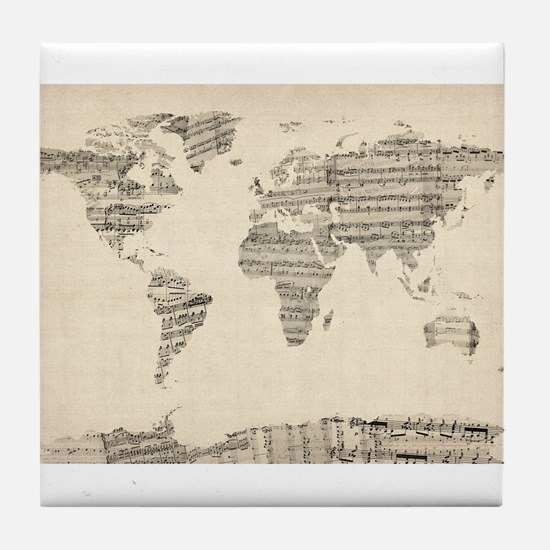 Map of the World Map from Old Sheet M Tile Coaster
