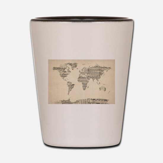 Map of the World Map from Old Sheet Mus Shot Glass