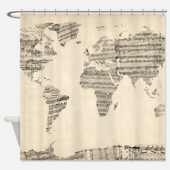 Vintage sheet music shower curtains cafepress map of the world map from old sheet shower curtain sciox Gallery