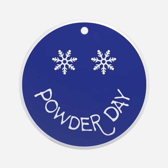 powder day face Round Ornament