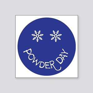 "powder day face Square Sticker 3"" x 3"""