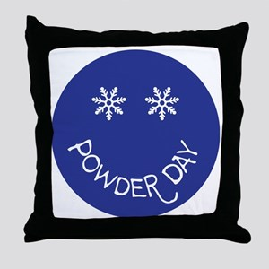 powder day face Throw Pillow