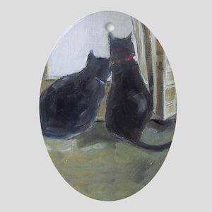 Black Cats Ornament (Oval)