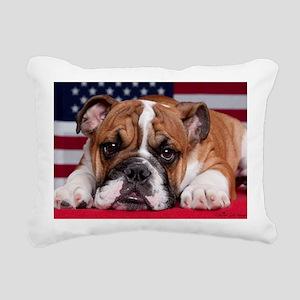 Patriot Bulldog Rectangular Canvas Pillow