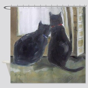 Black Cats Shower Curtain