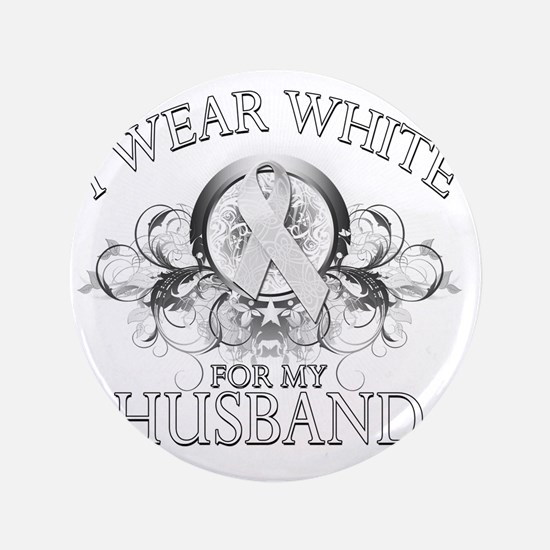 "I Wear White for my Husband (floral) 3.5"" Button"