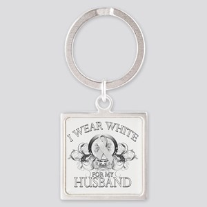I Wear White for my Husband (flora Square Keychain