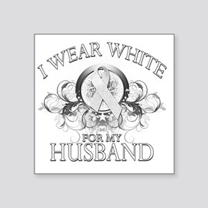 """I Wear White for my Husband Square Sticker 3"""" x 3"""""""