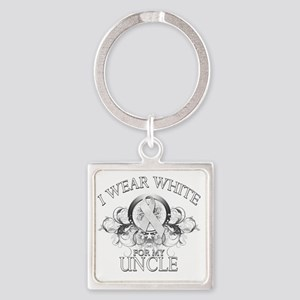 I Wear White for my Uncle (floral) Square Keychain