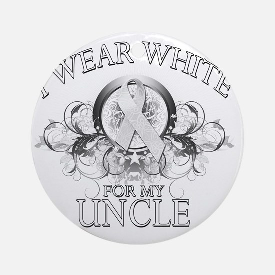 I Wear White for my Uncle (floral) Round Ornament