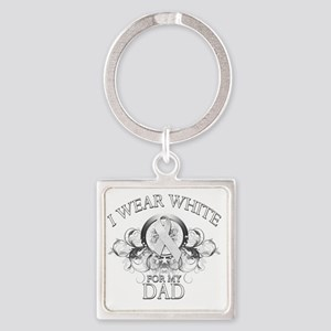 I Wear White for my Dad (floral) Square Keychain