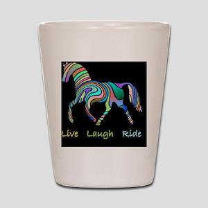 horse rainbow_horselarge live love laug Shot Glass