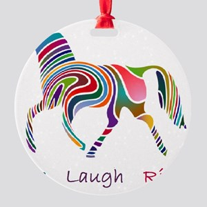 horse rainbow_horselarge live love  Round Ornament