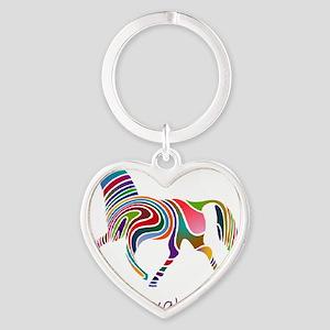 horse rainbow_horselarge live love  Heart Keychain