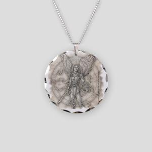 MichaelSquareBlk Necklace Circle Charm
