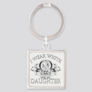 I Wear White for my Daughter (flor Square Keychain