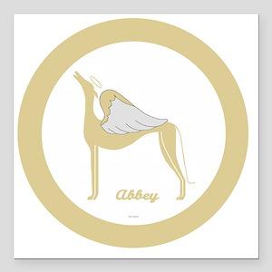 "ABBEY ANGEL GREY GOLD RI Square Car Magnet 3"" x 3"""