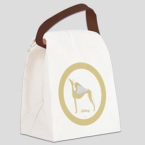 ABBEY ANGEL GREY GOLD RIM ROUND O Canvas Lunch Bag