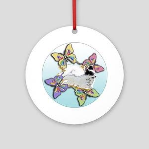 Agility Papillon Round Ornament