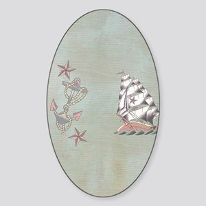 Old Pirate Ship and Anchor Sandals Sticker (Oval)