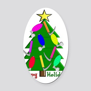 RT Happy Holidays Christmas Oval Car Magnet