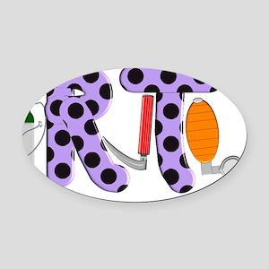 RT purple Oval Car Magnet