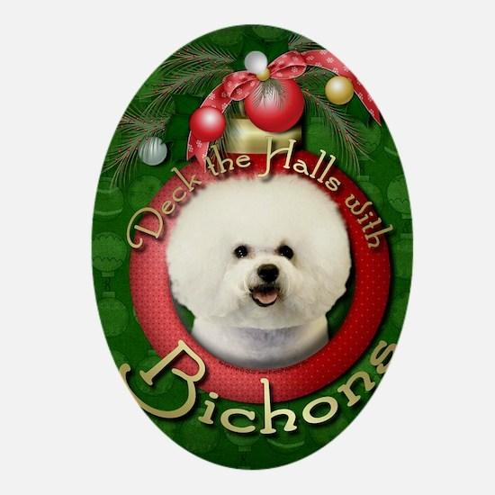 DeckHalls_Bichon_Frise Oval Ornament