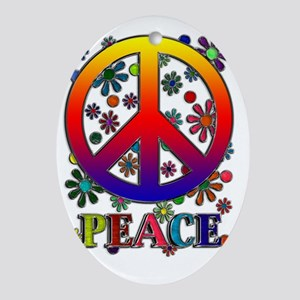 Peace Sign copy Oval Ornament