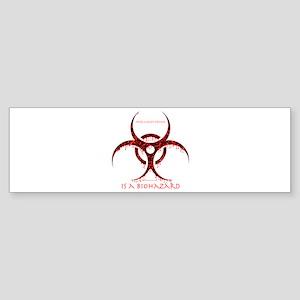 Intelligent design is a biohazard - red Sticker (B