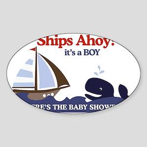 Ships Ahoy Nautical Baby Shower Yar Sticker (Oval)